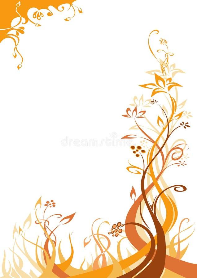 fond floral Orange-brun illustration libre de droits