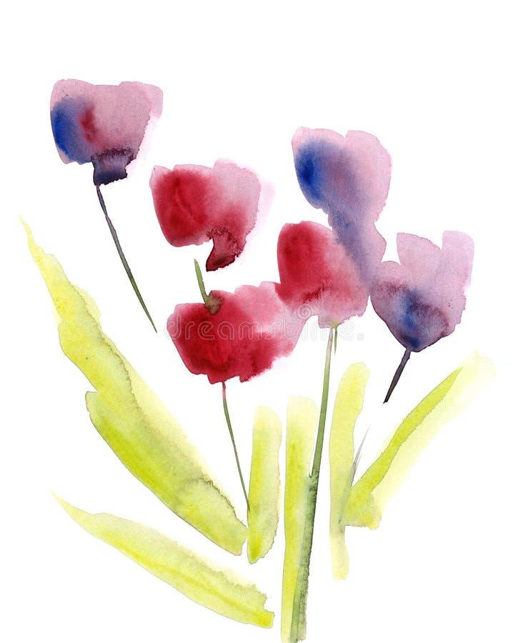 Fond floral peint par abstrait illustration stock