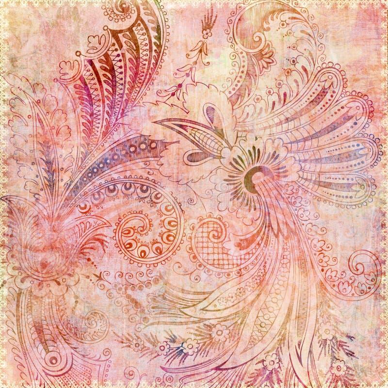 Fond floral rose gitan de Bohème illustration de vecteur