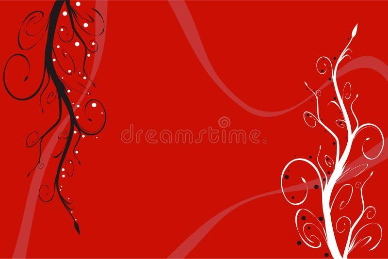 Fond floral rouge illustration de vecteur