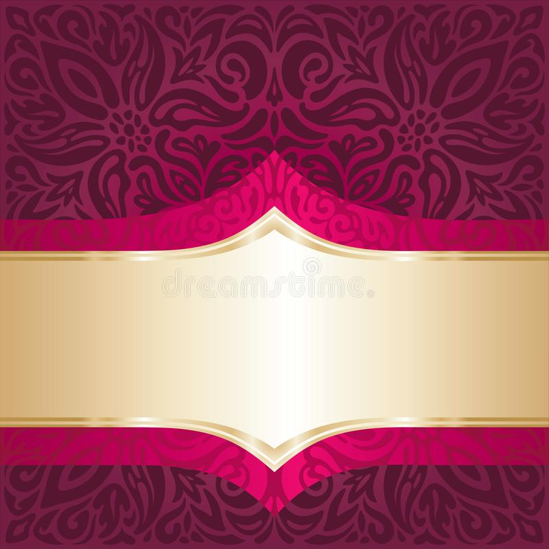 Fond floral rouge royal avec le papier peint de luxe de mandala de conception d'invitation de vintage d'éléments d'or illustration libre de droits