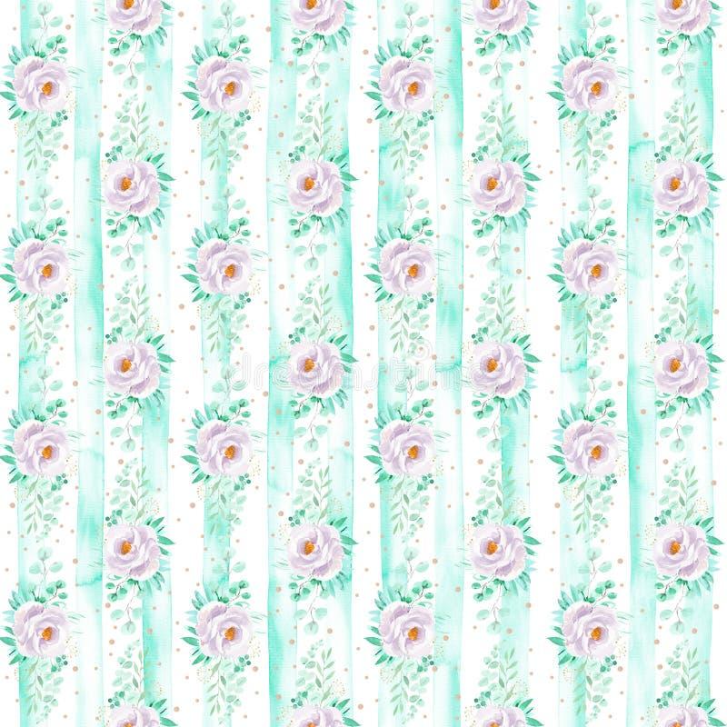 Fond floral sans couture barré par aquarelle dans des couleurs vertes mauve-clair et en bon état photographie stock libre de droits