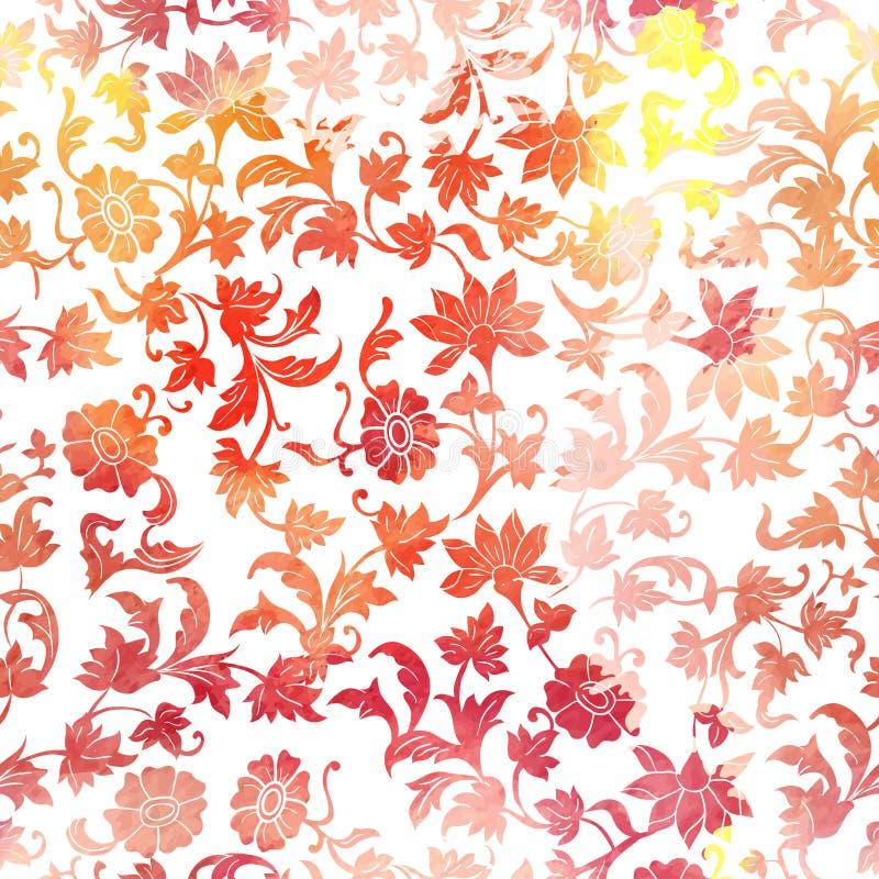 Fond floral sans couture de modèle d'aquarelle illustration de vecteur