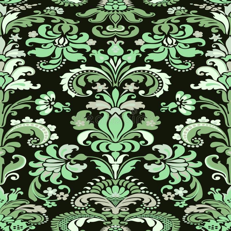 Fond floral sans couture de modèle de damassé colorée illustration stock