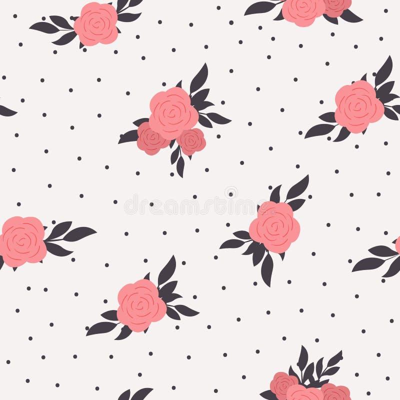 Fond floral sans couture de point de polka Modèle chic minable de style avec les roses roses illustration de vecteur