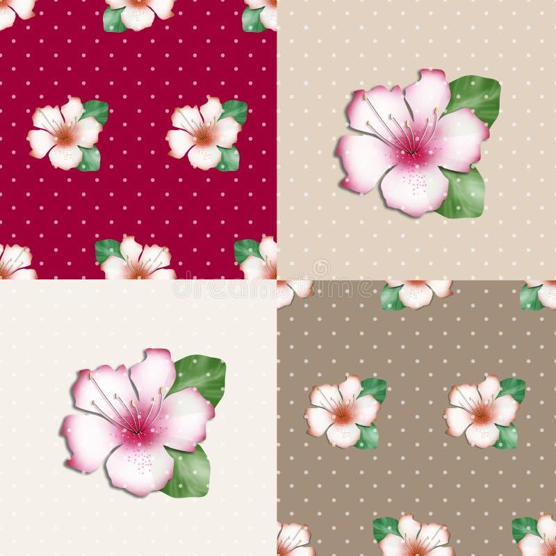 Fond floral sans couture de texture de modèle d'azalée de patchwork illustration libre de droits