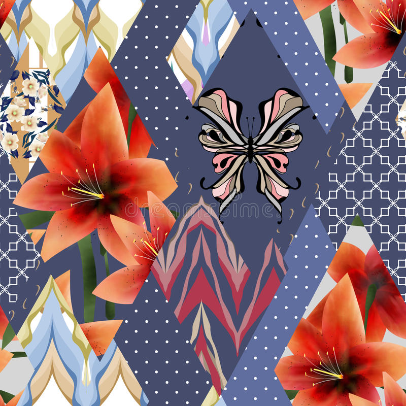 Fond floral sans couture de texture de modèle de patchwork lilly avec illustration stock