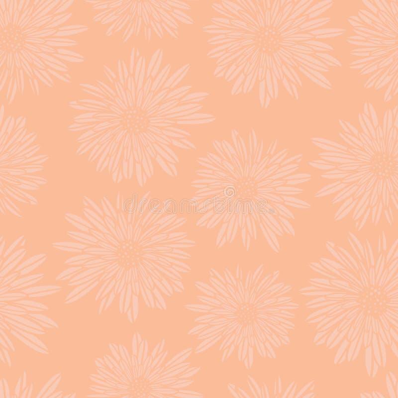 Fond floral subtil Modèle sans couture de vecteur de Dahlia Flowers d'aster rose de corail Art féminin contemporain tiré par la m illustration stock