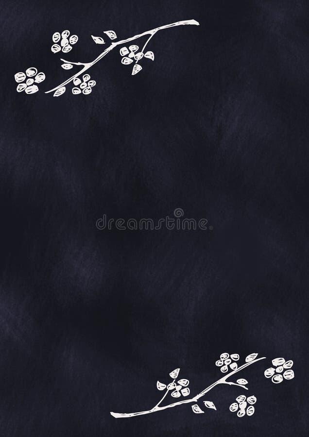 Fond floral texturisé tiré par la main dedans avec des fleurs et des feuilles sur le tableau bleu-foncé illustration de vecteur
