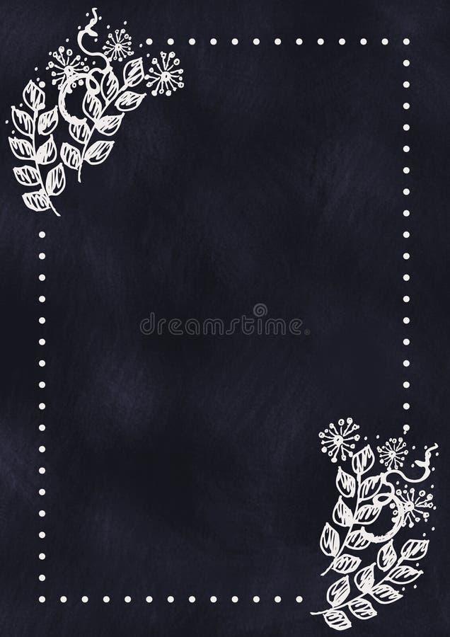 Fond floral texturisé tiré par la main dedans avec des fleurs et des feuilles sur le tableau bleu-foncé illustration stock