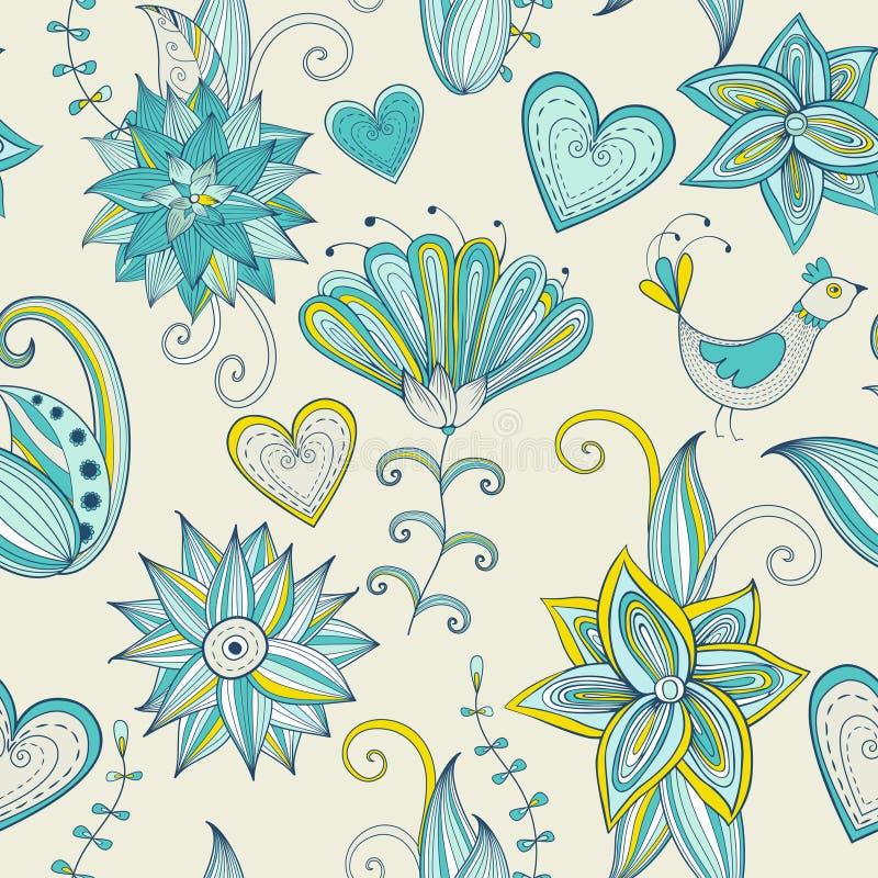 Fond floral tiré par la main coloré Configuration sans joint photos stock