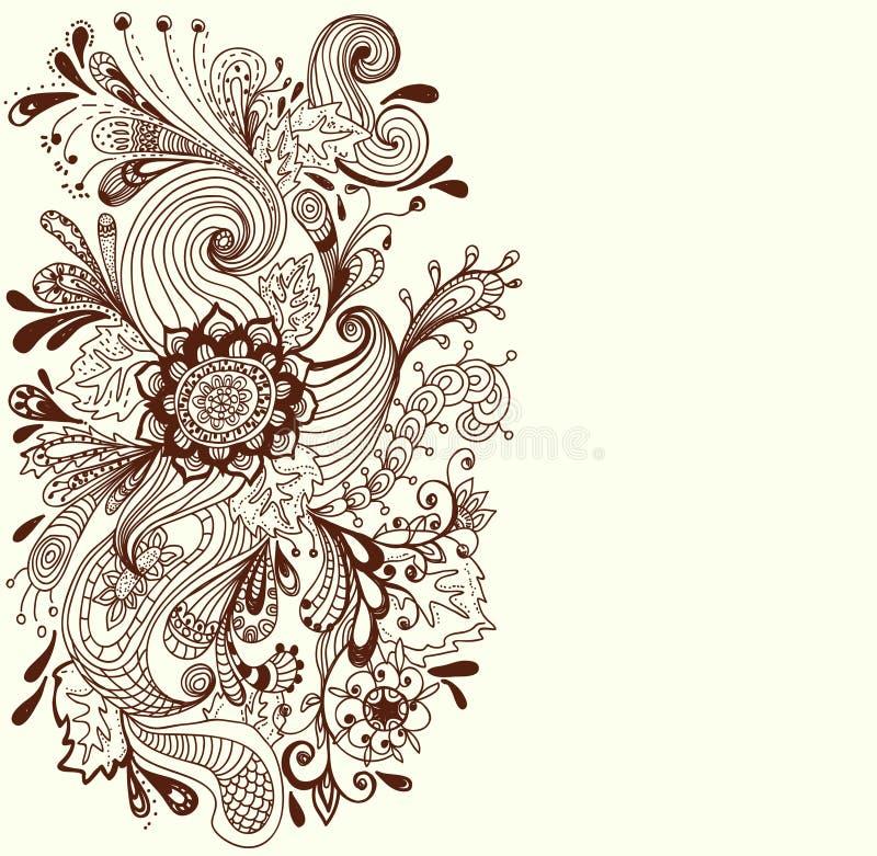 Fond floral tiré par la main romantique illustration de vecteur