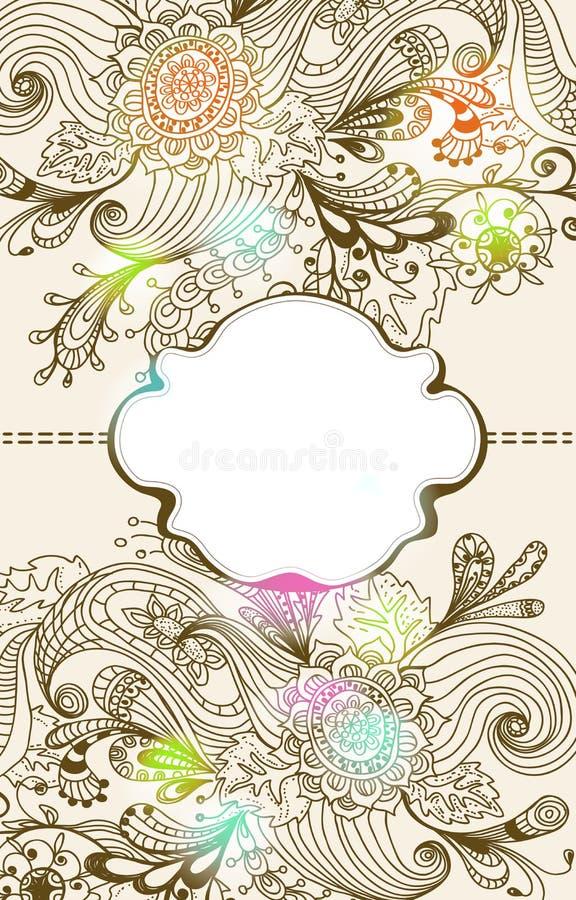 Fond floral tiré par la main romantique avec l'étiquette illustration stock