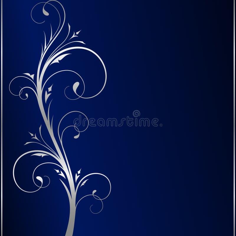 Fond foncé élégant et défilements floraux argentés illustration stock