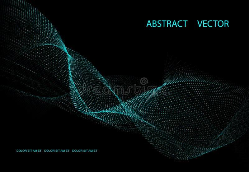 Fond foncé abstrait avec de l'énergie bleue Vagues de point illustration stock