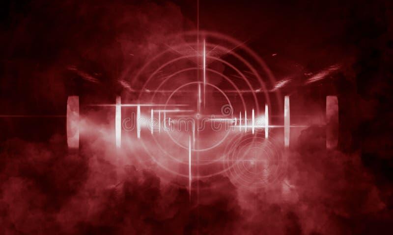 Fond foncé abstrait avec des rayons, la vue rouge de laser et la lampe au néon Tunnel vide, pièce, vue de nuit de sous-sol d'une  illustration libre de droits
