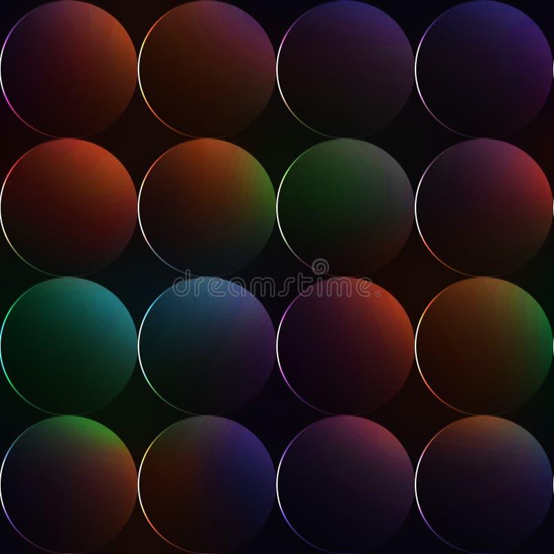 Fond foncé avec des boules ou cercles avec des couleurs d'arc-en-ciel illustration stock