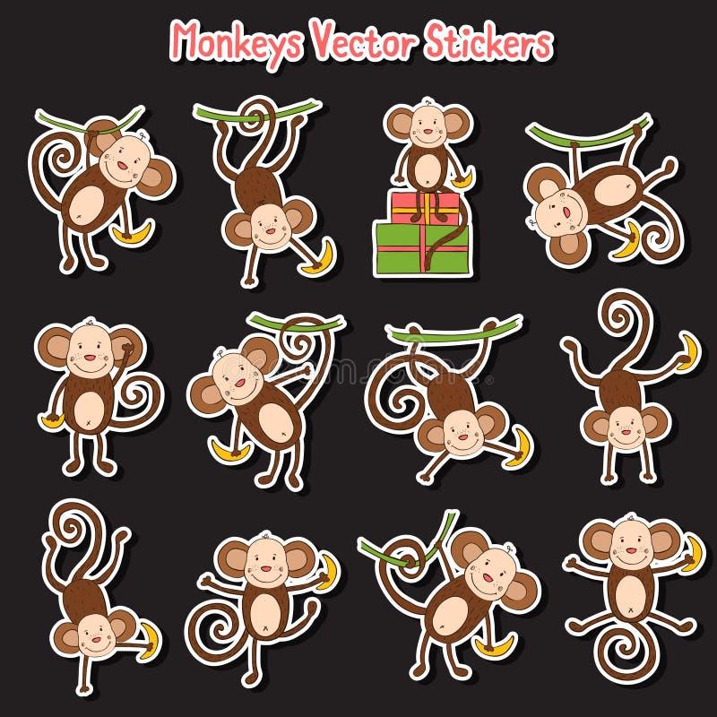 Fond foncé avec les singes drôles colorés illustration libre de droits