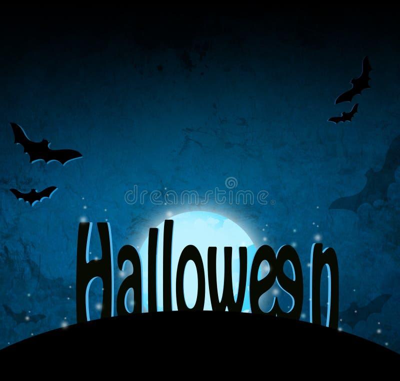 Fond foncé bleu de Halloween illustration libre de droits