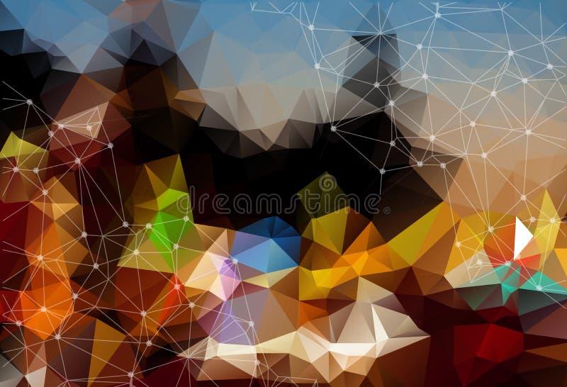 Fond foncé coloré abstrait de l'espace de vecteur Chaotiquement conn. illustration stock