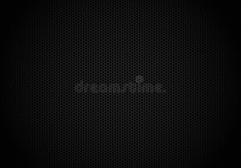 Fond foncé d'hexagone Papier peint noir de technologie de modèle de grille en métal d'abrégé sur nid d'abeilles illustration libre de droits