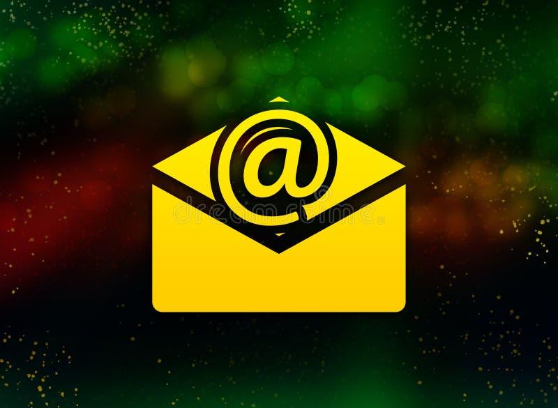 Fond foncé de bokeh d'abrégé sur icône d'email de bulletin d'information illustration stock