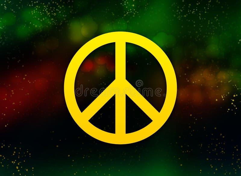 Fond foncé de bokeh d'abrégé sur icône de signe de paix illustration de vecteur