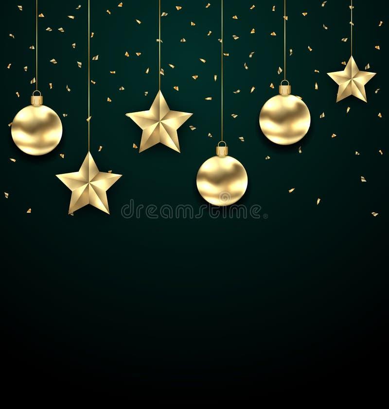 Fond foncé de Noël avec les babioles d'or, saluant la bannière illustration de vecteur