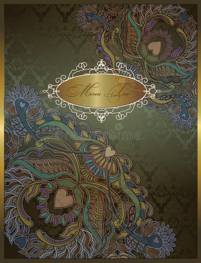 Fond foncé de vert floral de menu, motif indien illustration libre de droits
