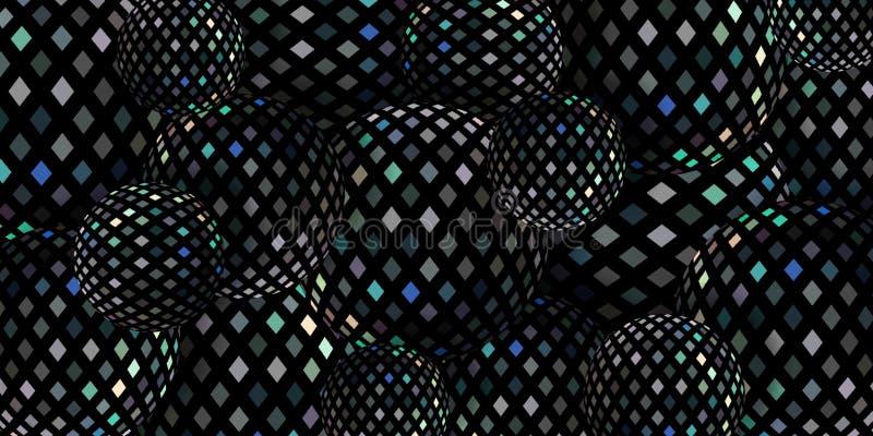Fond foncé des boules 3d de mosaïque de miroir de miroitement illustration stock