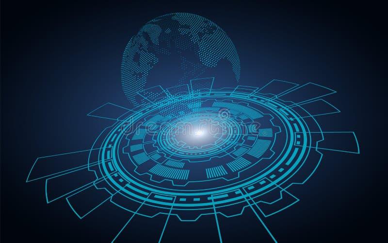 Fond foncé technologique Cercle d'ordinateur dont il y a un hologramme de la terre de planète illustration libre de droits