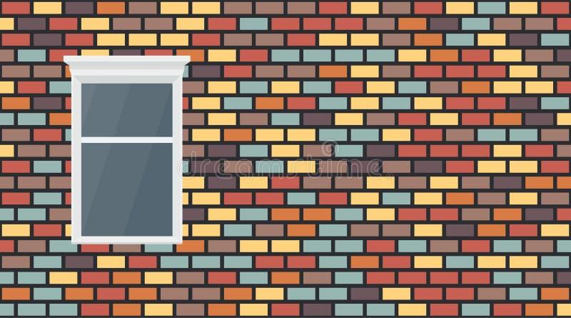 Fond fonc? brun bleu rouge color? de mur de briques de violette jaune de vecteur Maçonnerie urbaine et fenêtre de vieille texture illustration de vecteur