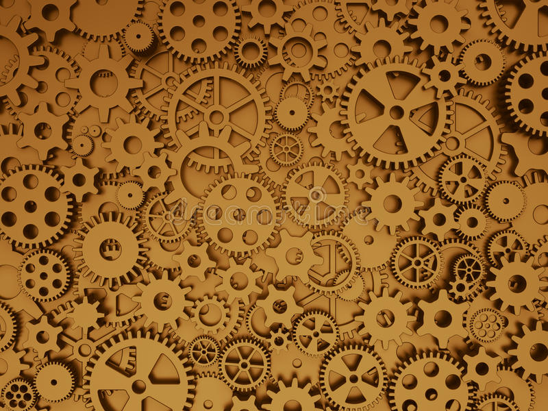Fond fou de mécanique Vitesses et dents en bronze illustration libre de droits