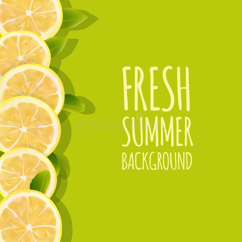 Fond frais d'été avec des fruits de citron d'agrume Élément de conception illustration de vecteur