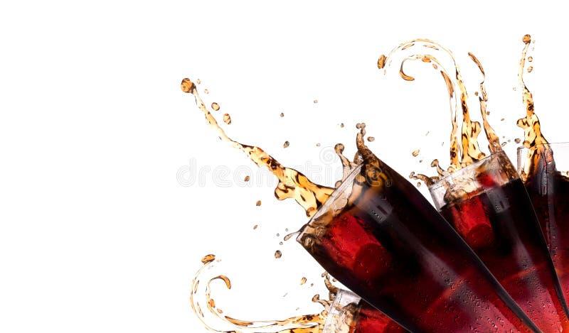 Fond frais de coke avec l'éclaboussure images libres de droits