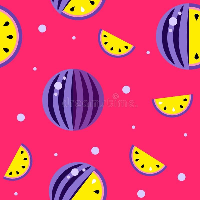 Fond frais jaune rouge violet de pastèque Melons sans couture collection, vecteur de modèle de papier peint Bon pour l'impression illustration de vecteur