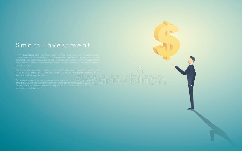 Fond futé de vecteur de concept d'affaires d'investissement avec le symbole dollar comme symbole d'argent et d'homme d'affaires O illustration libre de droits