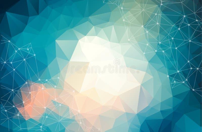 Fond futuriste abstrait avec des points et des lignes, particules moléculaires et atomes, texture numérique linéaire polygonale,  illustration de vecteur
