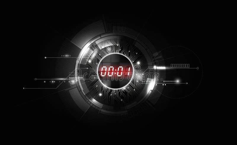 Fond futuriste abstrait blanc noir de technologie avec le concept de minuterie de nombre de Digital et le compte à rebours rouges illustration libre de droits