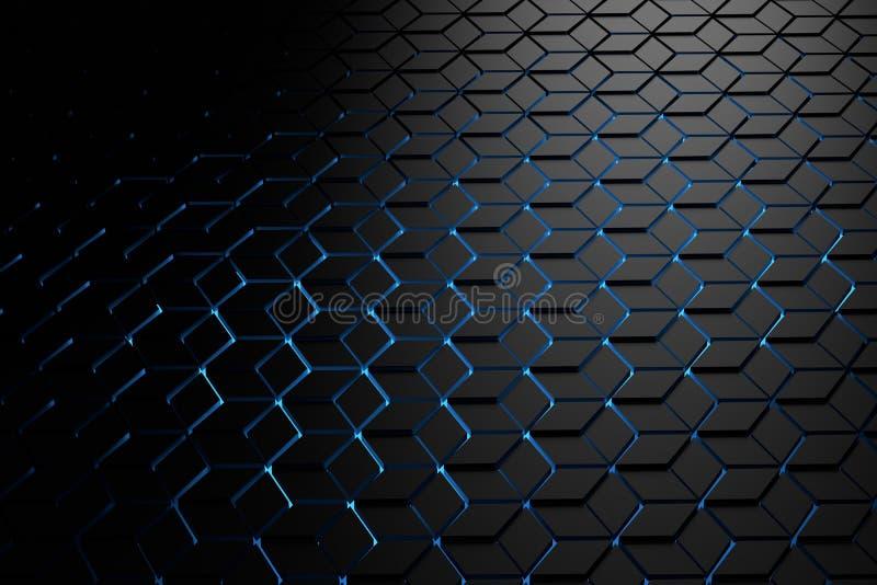 Fond futuriste avec un modèle des hexagones dans des couleurs foncées illustration de vecteur