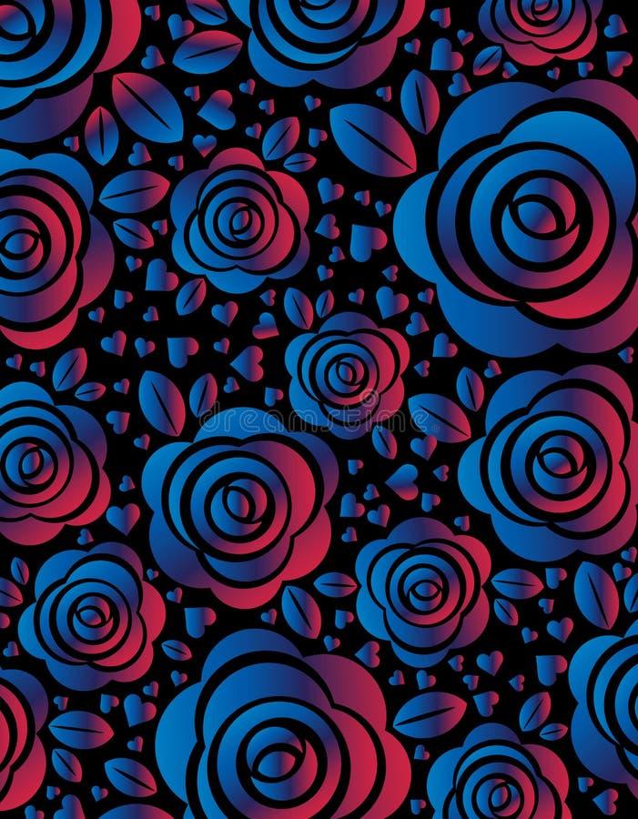 Fond futuriste bleu-foncé avec la rose et le coeur brillants, illustration de vecteur Conception moderne avec les fleurs brillant illustration de vecteur