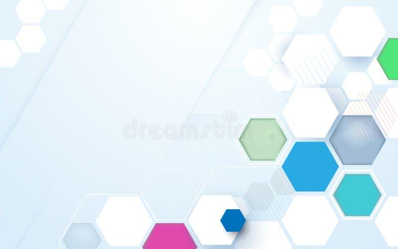 Fond futuriste de couleur de technologie de pointe abstraite d'hexagones illustration libre de droits