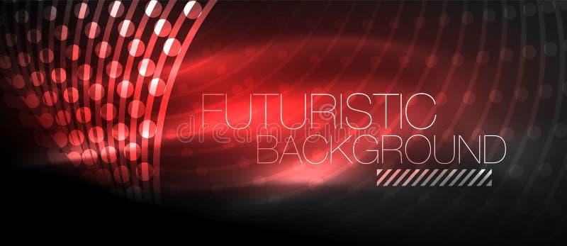 Fond futuriste de pointe de techno, formes au néon et points illustration libre de droits
