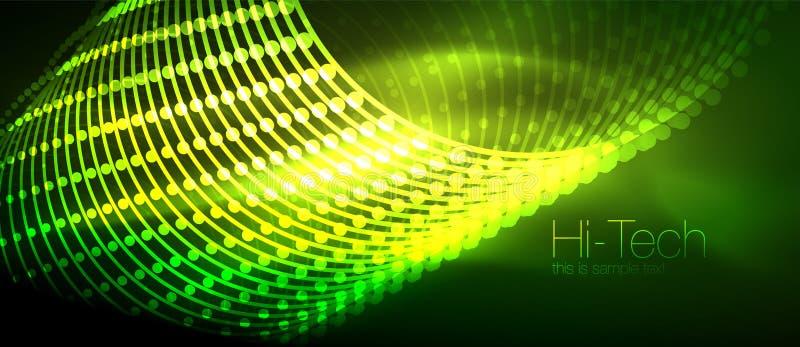 Fond futuriste de pointe de techno, formes au néon et points illustration de vecteur