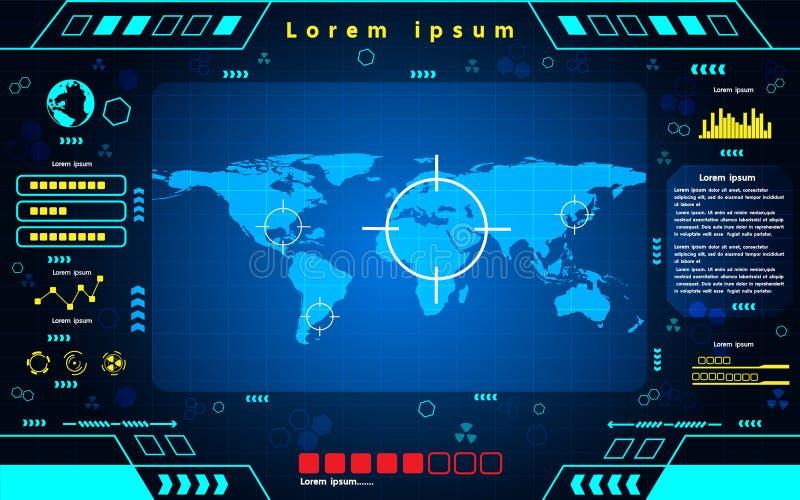 Fond futuriste de technologie de carte du monde d'interface illustration de vecteur