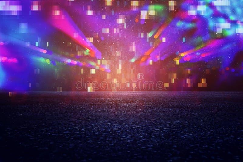 Fond futuriste du rétro style des années 80 Digital ou surface de Cyber lampes au néon et modèle géométrique, problème d'écran d' photo stock