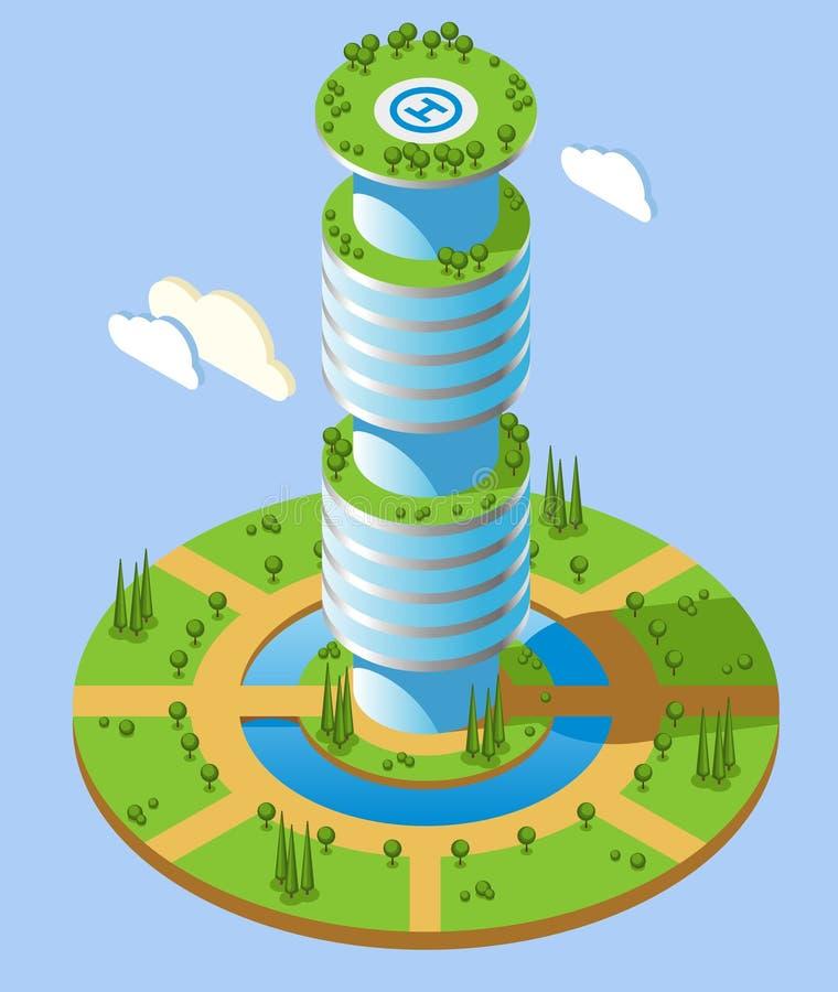 Fond futuriste isométrique de gratte-ciel illustration libre de droits