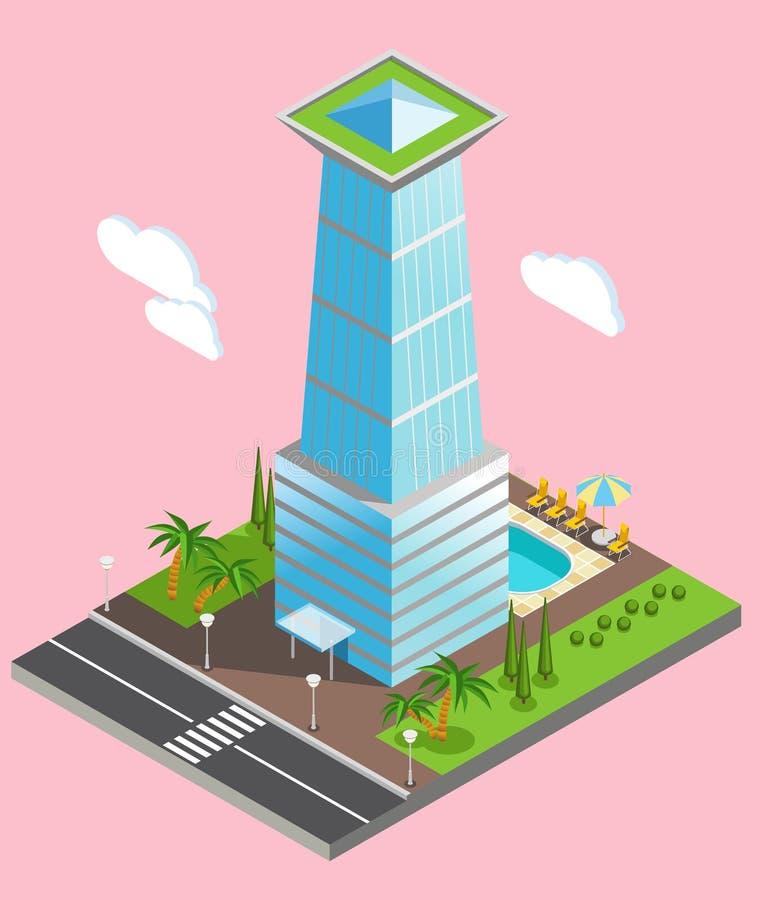 Fond futuriste isométrique de grattoir de ciel illustration de vecteur