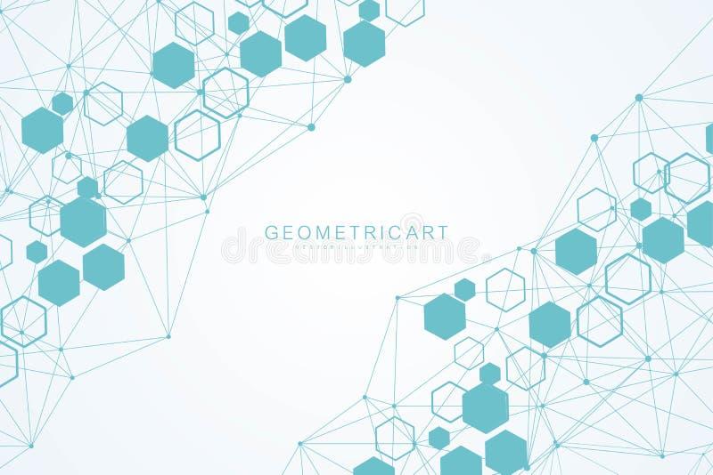 Fond futuriste moderne du mod?le hexagonal scientifique Fond abstrait virtuel avec la particule, mol?cule illustration libre de droits