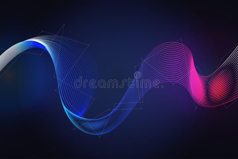 Fond futuriste onduleux de concept de technologie numérique Illustration de vecteur illustration stock